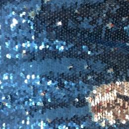 Ткань пайеточная (чешуя) голубая с серебром (метр )