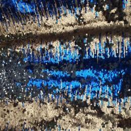 Ткань пайеточная (чешуя) омбрэ золото-электрик-серебро (метр )