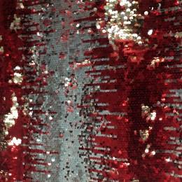 Ткань пайеточная (чешуя) омбрэ красная с серебром (метр )