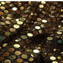 Ткань пайеточная копейка золото на черном (метр )