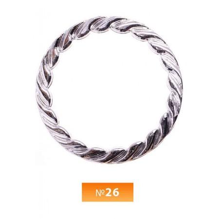Кольцо пластиковое №26 никель 5 см (250 штук)