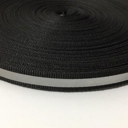 Тесьма светоотражающая 1см черная (50 метров)
