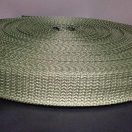 Тесьма-лента ременная 25мм хаки (100 метров)