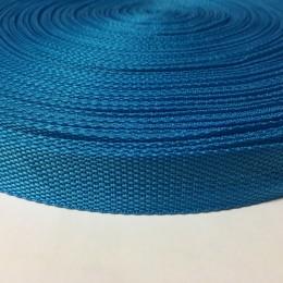 Тесьма-лента ременная 25мм голубая бирюза (100 метров)