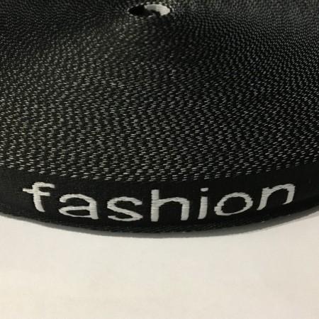 Тесьма с логотипом 20мм Fashion черно-белая (50 метров)