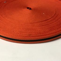Тесьма репсовая производство 10мм оранжевая черная (50 метров)
