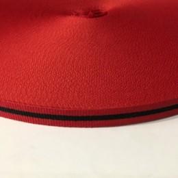 Тесьма репсовая производство 10мм красная черная (50 метров)
