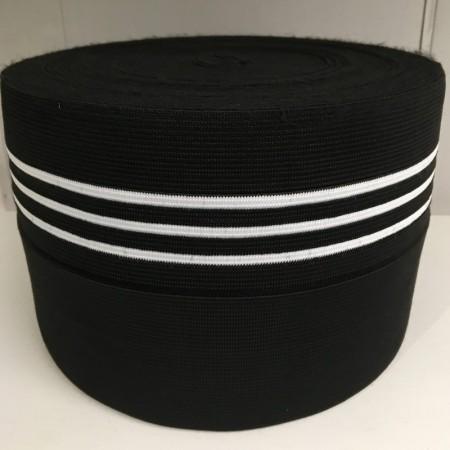 Резинка 130мм для манжетов Черная 3 белые полоски (метр )