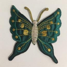 Вышивка апликация бабочка 7х7см зеленый темный (Штука)