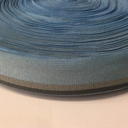 Резинка 30мм голубой серая полоска (метр )