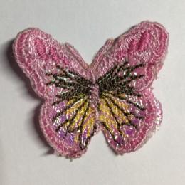 Вышивка апликация бабочка 4х3см розовый (Штука)