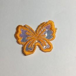 Вышивка апликация бабочка 4х3см оранжевый (Штука)
