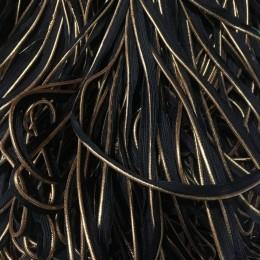 Кант лямовка трикотажный черный золото (30 метров)