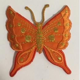 Вышивка апликация бабочка 7х7см оранжевый (Штука)