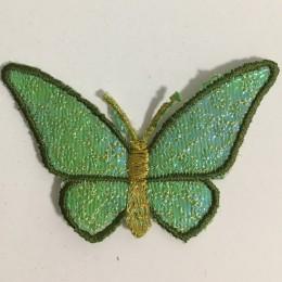 Вышивка апликация бабочка 7х5см зеленый (Штука)