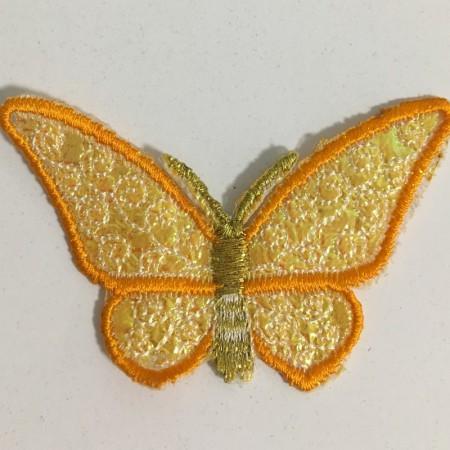 Вышивка апликация бабочка 7х5см оранжевый (Штука)