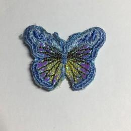 Вышивка апликация бабочка 4х3см голубой (Штука)