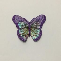 Вышивка апликация бабочка 6х5см фиолетовый (Штука)