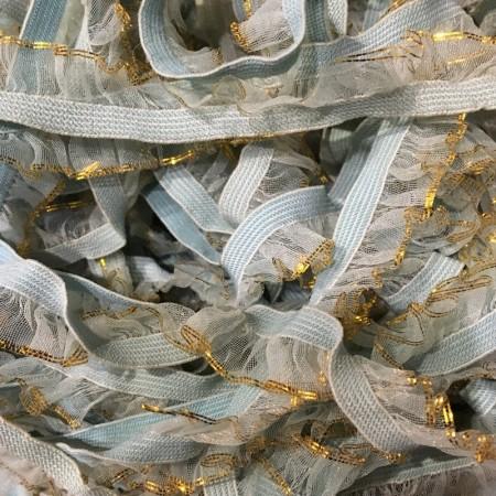 Резинка рюшь 15мм голубая люрекс золото (30 метров)