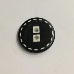Пуговица пришивная 3521 черная белые стежки по кругу 54 (34мм) (Штука)