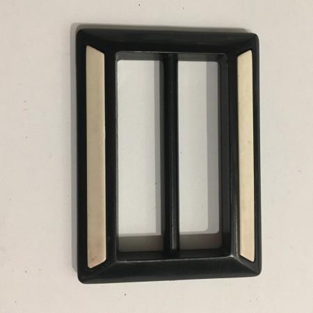 Пряжка пластиковая декоративная квадрат черно-белая 5см (Штука)