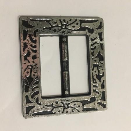 Пряжка пластиковая декоративная квадрат темный никель 4,8см (Штука)