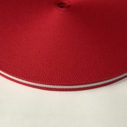 Тесьма репсовая производство 10мм красная 1п белая (50 метров)