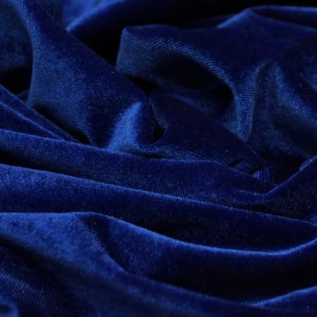 Ткань бархат стрейч синий электрик (метр )
