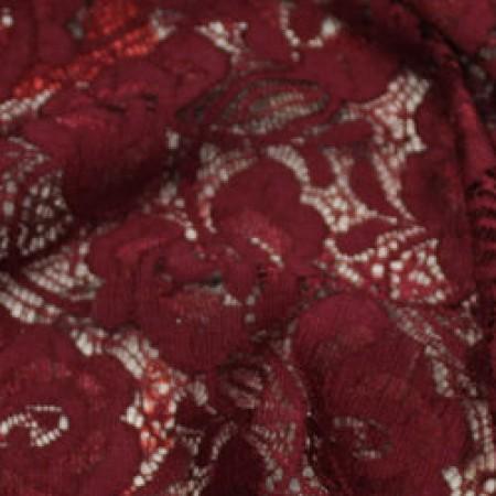 Ткань гипюр стрейчевый розочки бордовый (метр )