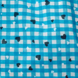 Ткань рубашечная клетка бирюзовый-белый (метр )