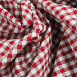 Ткань рубашечная клетка красный-белый 6мм (метр )