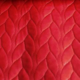 Ткань стеганый трикотаж кожа косичка (красный) (метр )