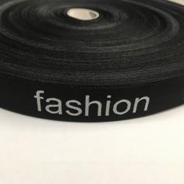 Этикетка жаккардовая вышитая Fashion 20мм лента черно-белая (100 метров)