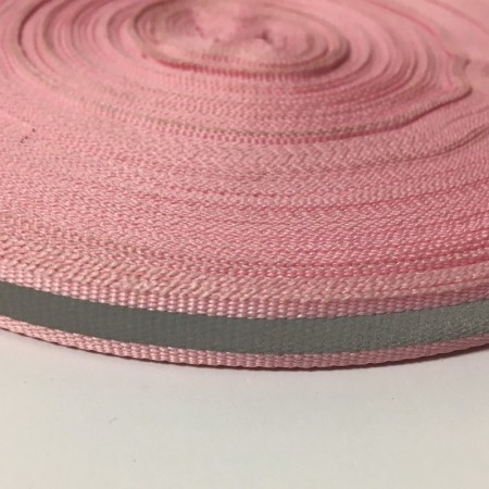Тесьма светоотражающая 1см розовый (50 метров)