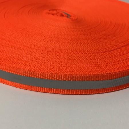 Тесьма светоотражающая 1см оранжевый (50 метров)