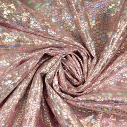 Ткань бифлекс голограмма серебро на розовом (метр )