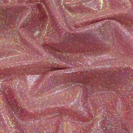 Ткань бифлекс голограмма точка розовая (метр )