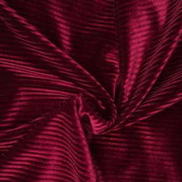 Ткань бархат полоска бордо (метр )