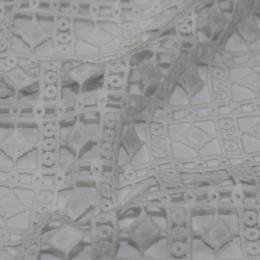 Ткань гипюр макраме белый ромб (метр )