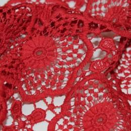 Ткань гипюр макраме красный  A2 (метр )