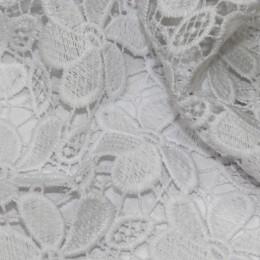 Ткань гипюр макраме белый A1 (метр )
