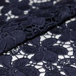 Ткань гипюр макраме темно синий A1 (метр )