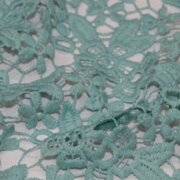 Ткань гипюр макраме мята  (метр )