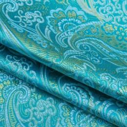 Ткань парча жаккард голубая бирюза с золотом (метр )