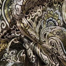 Ткань парча жаккард черное с золотом (метр )