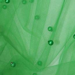 Ткань сетка с бусинами зеленый (метр )