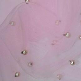 Ткань сетка с бусинами розовый (метр )