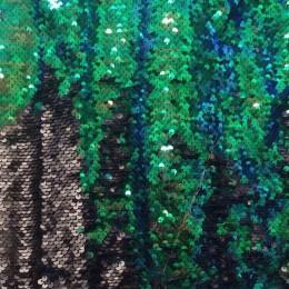 Ткань пайеточная (чешуя) зеленая с серебром (метр )