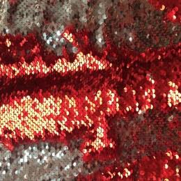 Ткань пайеточная (чешуя) красная с серебром (метр )