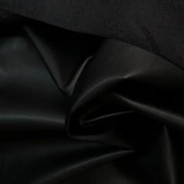 Ткань кожа на замше черная (метр )